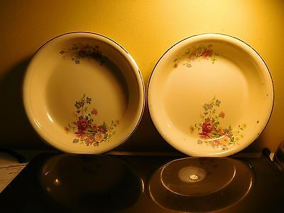 "2 Vintage Homer Laughlin Oven Serve Yellow  9"" Bowls NR"