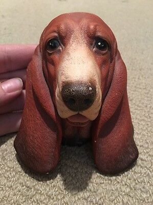 Antique Basset Hound Plaque Plaster Bust By Bossons England