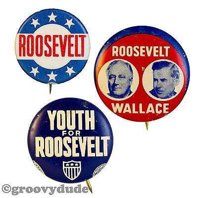 President FDR Franklin Roosevelt Wallace 6 Stars Youth Jugate Pinback Button Lot