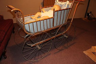 Victorian Oak, Bent Wood Baby Carriage With Iron Wheels