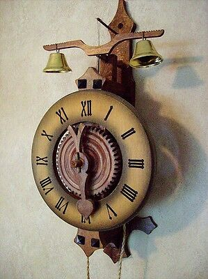 Vintage Anno 1640 Wooden Gear - One Hand Wall Clock Working