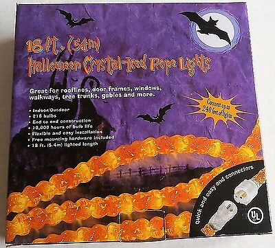 HALLOWEEN CRYSTAL-ICED ROPE LIGHTS  18 ft LIGHTED LENGTH  End To End Connection