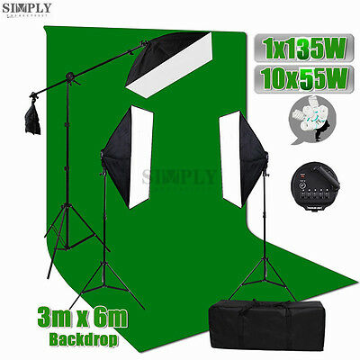 Photo Studio Softbox Continuous Lighting Video Light Stand Muslin Backdrop Kit