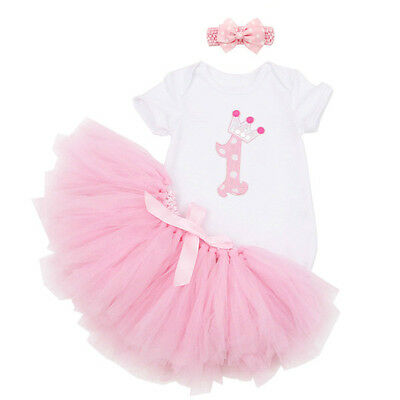 Baby Girls' 1st Birthday tutu Outfit Set Princess Dresses Romper Pink Dress 2pcs