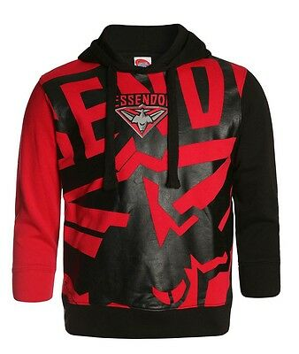 AFL Essendon Bombers Kids Youth Supporter Pullover Hoodie Hoody, sizes 8 10 14