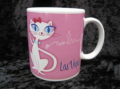 LV Las Vegas Kitty Pink Feline White Cat City Scape Souvenir Coffee Cup Mug 2006
