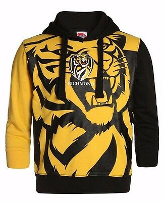 AFL Richmond Tigers Kids Youth Supporter Pullover Hoodie Hoody, sizes 6-14