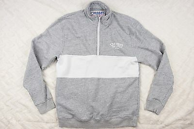 Chubbies Grey Pullover 1/2 Zip Sweater White Stripe USA Made Mens Sz S