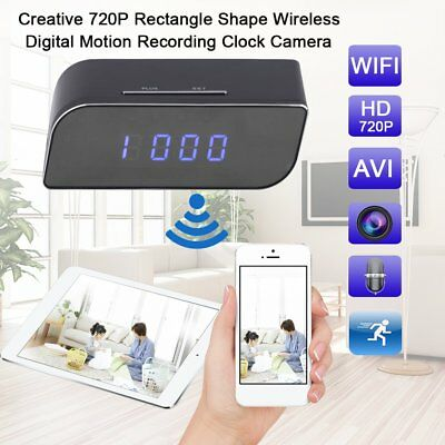 Hot Cam 720P Wireless Wifi IP Hidden Camera Motion Security Alarm Clock IR DV FR