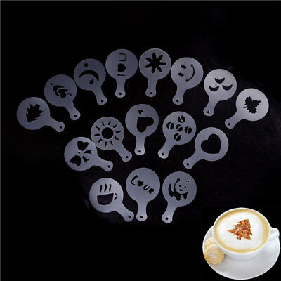 16x Cappuccino Coffee Barista Stencils Template Strew Pad Duster Spray ToolsH&T
