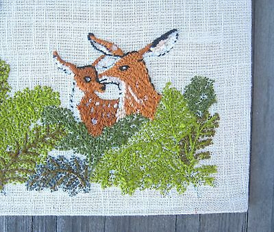 Vintage Needlepoint Solomon 2:12 Quote Wall Hanging with Deer/Birds; Natural