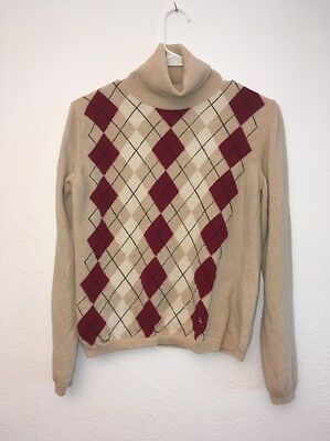 Burberry Argyle Turtleneck Sweater Extra Fine Merino Wool Kids Large $300+ New