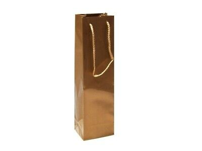 50 x Glossy Laminated Single Wine Bottle Gift Bags Rope Handles - Gold