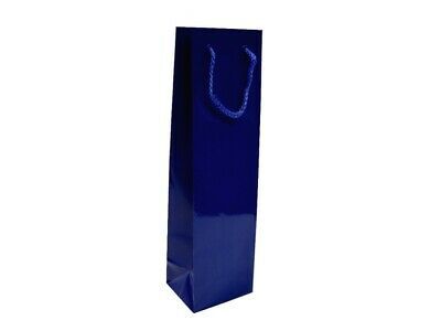 50 x Glossy Laminated Single Wine Bottle Gift Bags Rope Handles - Navy Dark Blue