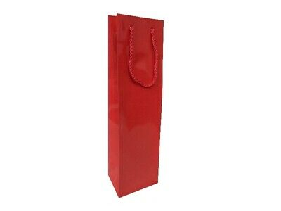 50 x Glossy Laminated Single Wine Bottle Gift Bags Rope Handles - Red
