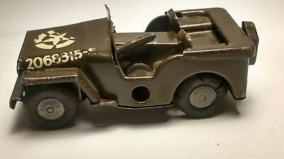 Vintage England Tri-Ang Minic Toys Us Army Wind Up Toy Wwii Willys Jeep