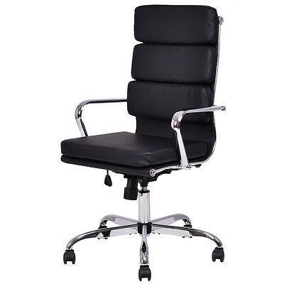 High Back PU leather Executive Office Chair Computer Desk Task Swivel Black