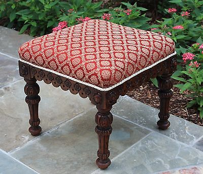 Antique French Oak RED Upholstered HIGHLY CARVED Vanity Bench Foot Stool