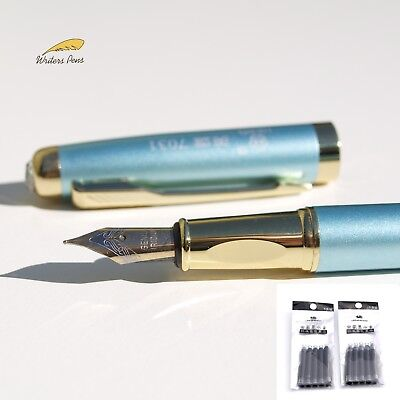 Turquoise Blue Hero Fountain Pen Medium Nib + Ink Converter + 10 Cartridges NEW