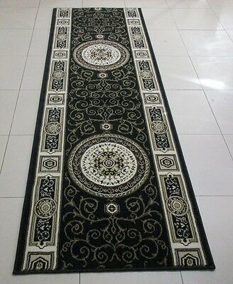 New Black Persian Design High Quality Hallway Runner Floor Rug 80X235Cm