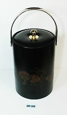 Vintage Couroc Insulated Bucket Black Mushrooms Mid Century  LOT Z53