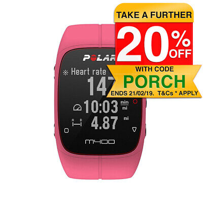 Polar M400 GPS Running Watch Tracker Pink Heart Rate Sports Cardio Smartwatch