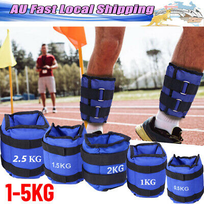 1-6kg 2Pcs Adjustable Ankle Weights Gym Equipment Wrist Fitness Yoga Workout AU