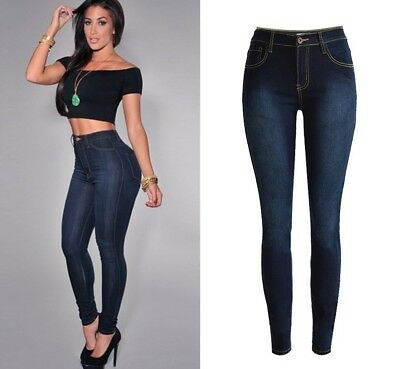Womens Stretch Trousers Ladies High Waist Denim Pants Fitness Jeans Size 6-20