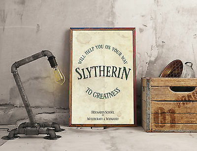 Slytherin House Motto & Colours Print A4 Picture Art Retro Style Print Potter