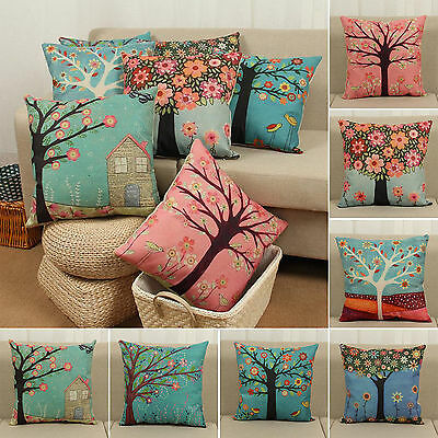 Flower Tree Printed Pillow Case Throw Cushion Cover Cotton Linen Sofa Home Decor