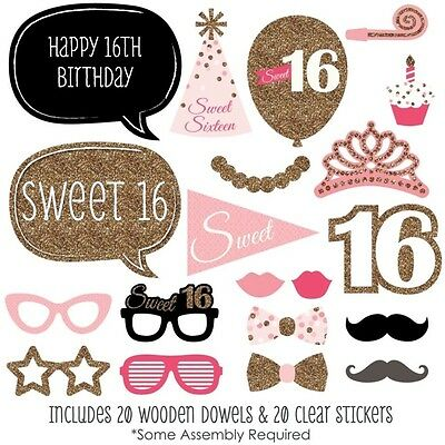 20 pcs SWEET 16TH BIRTHDAY PHOTO PROPS PHOTO BOOTH PROPS 16TH BIRTHDAY
