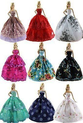 AU 6PCS  Handmade Wedding Dress Party Gown Clothes Outfits For Barbie Doll  Gift