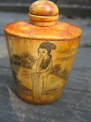 Antique Hand Carved SIGNED Chinese Snuff Bottle  great pantina