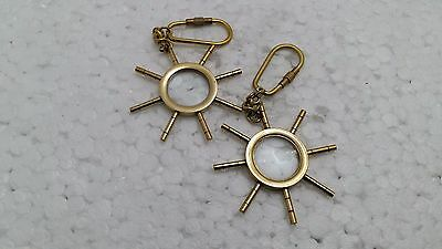 New Set of 2 pcs Solid Brass While Magnifying Glass Key Ring Key Chain Gift Item