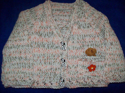 New Hand Knitted Baby Girls Cardigan in a Peach Mix  with tiny teddy 0-4 months