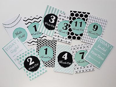 Teal Baby Neutral Milestone & Moments Cards. Announcements - BRAND NEW 27 cards