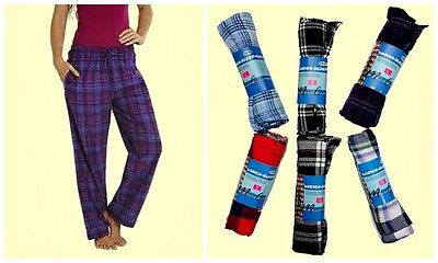 Women's Flannel Plaid Cotton Lounge Sleep Pants 3 Pair Assorted