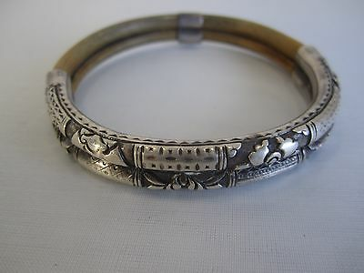 Rare Antique Chinese Silver Repousse Slide Charm Double Bamboo Bracelet