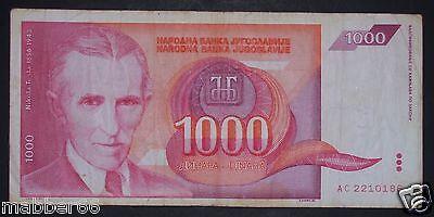 Yugoslavia 1000 Dinara 1992 Big Banknote Money, Nikola Tesla,Electrical Inventor