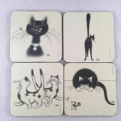 """Set of 4 Dubout et Editions Clouet 4x4"""" Cat Humor Drink Coasters Cork Backing"""