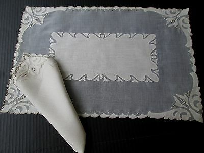 Antique/vintage Madeira Linen & Organdy Placemats & Napkins..unused16 Pieces