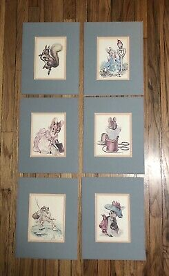 Beatrix Potter Pictures Framed And Matted Lot Of 6 Prints Art Wall Decor