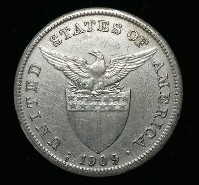 1909s US-Philippines 1 Peso Silver Coin - lot #13