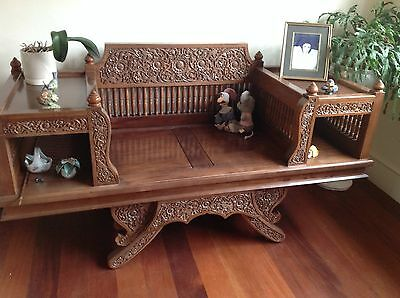 Solid Teak Carved Oriental Sit
