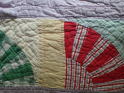 "62"" x 72"" OLD Vintage Quilt in FAN Pattern-Estimated circa 1950's"