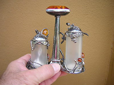 Vintage Very Ornate Polish Sterling Silver + Amber Condiment Set Acorn Motifs