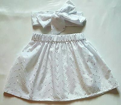 Beautiful Summer Broderie Anglaise  Baby's Skirt and Headwrap New Girls clothes