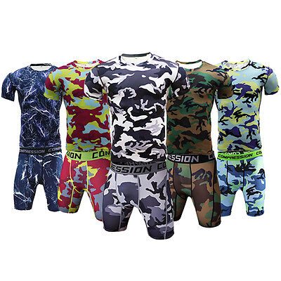 Mens Workout Outfits Compression Shorts T shirt Gym Sports Sets Camo Sportswear