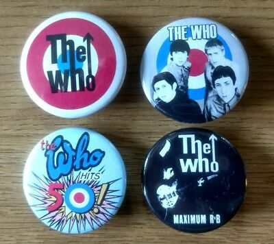 The Who 25mm button badges set of 4 My Generation Tommy Hits 50 Quadrophenia