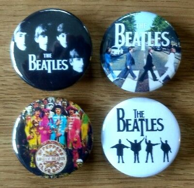 The Beatles 25mm button badges set of 4 Help Sgt Pepper Abbey Road